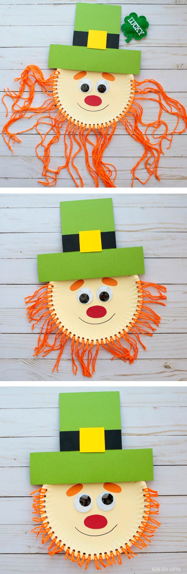 Paper plate leprechaun beard craft for kids
