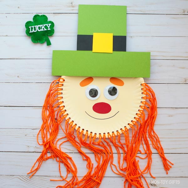 Paper plate St Patrick leprechaun craft for kids
