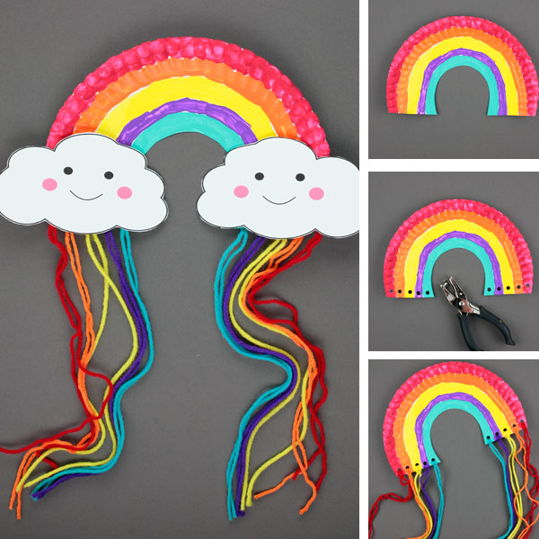 Paper plate rainbow craft collage