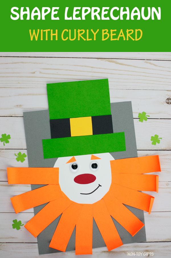 Leprechaun craft for kids. Shape craft for St Patrick's Day. Template available. #nontoygifts #leprechauncraft #shapecraft