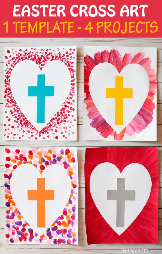 Easter cross art project for kids to make for Easter. Easter religious craft for Sunday School. #crosscrsft #Eastercraft #nontoygifts