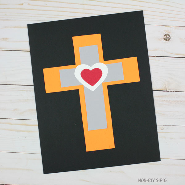 Heart cross craft for kids