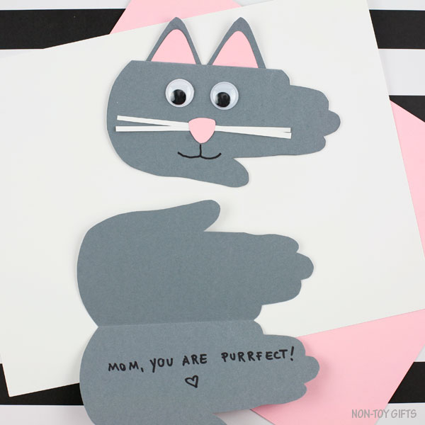 Mother's Day handprint purrfect card for mom from kids