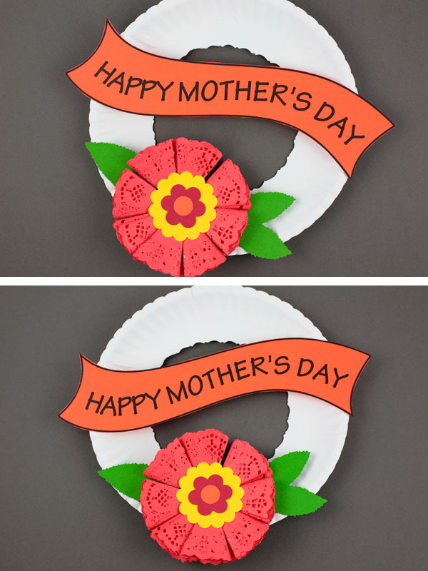 Mother's Day paper plate wreath craft for kids. Doily flower decor