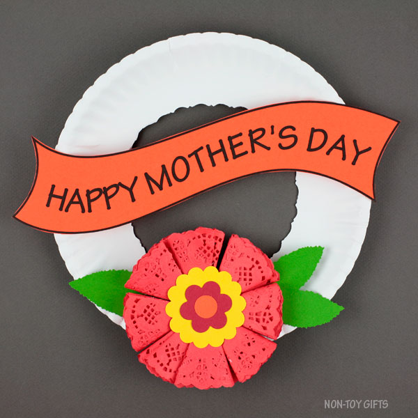 Mother's Day paper plate and flower wreath craft for kids