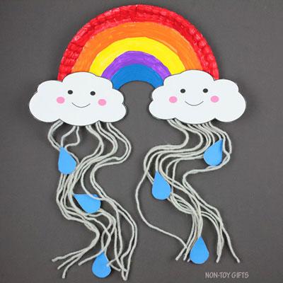 Paper plate rain cloud craft