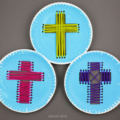 Paper plate yarn cross craft for Easter