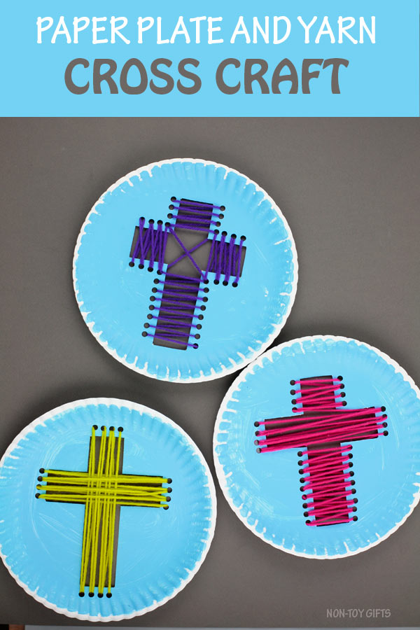 Paper plate yarn cross craft for kids to make for Easter. Great Sunday School Easter project #crosscraft #religiousEaster #nontoygifts