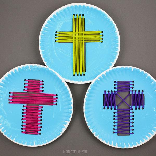 Paper plate yarn cross craft for kids