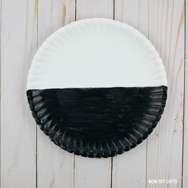 Half painted paper plate