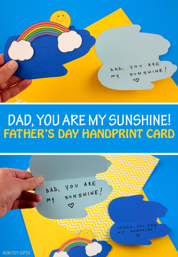 Father's Day handprint sunshine card kids can make for their dad