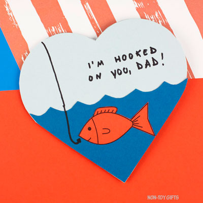 Hooked on dad card – Father's Day card kids can make