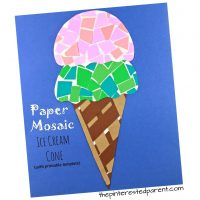 Printable Paper Mosaic Ice Cream Cone