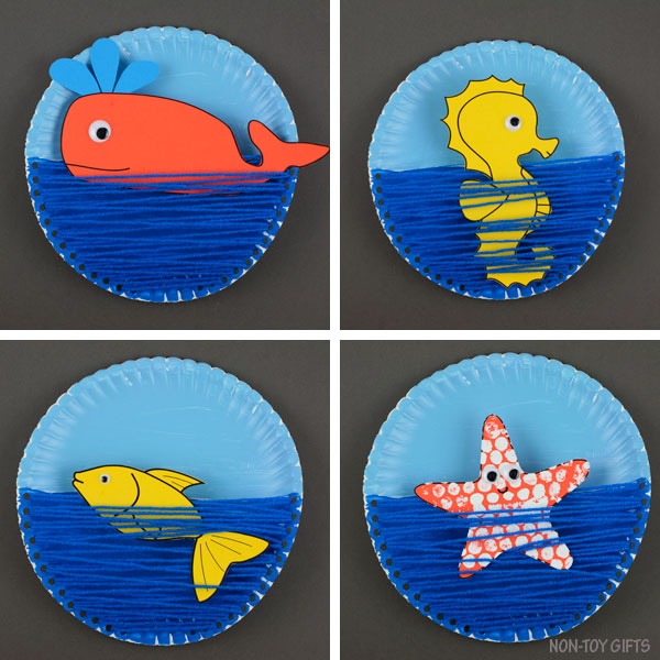Paper plate ocean craft for kids
