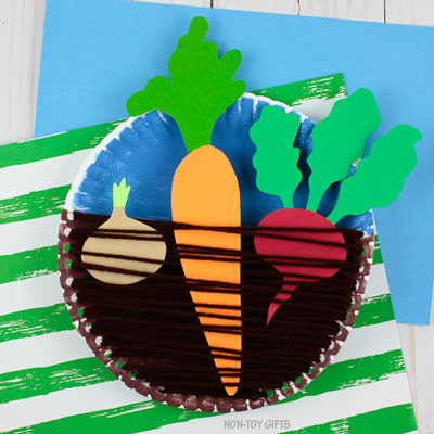 Paper plate veggie garden craft for kids
