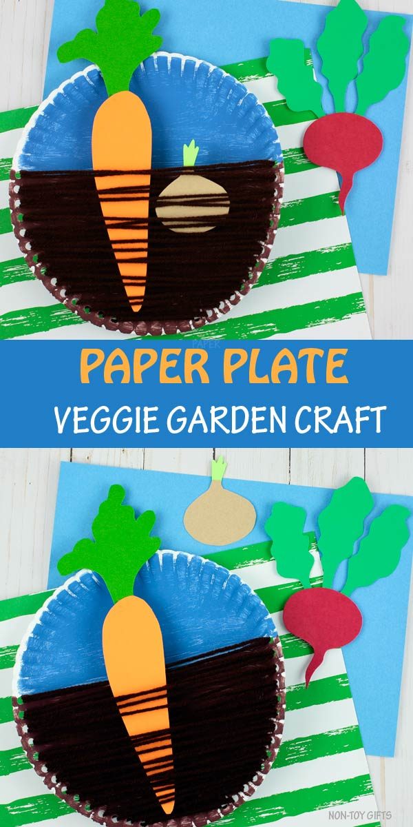 Paper plate veggie garden craft with carrot, beet and onion