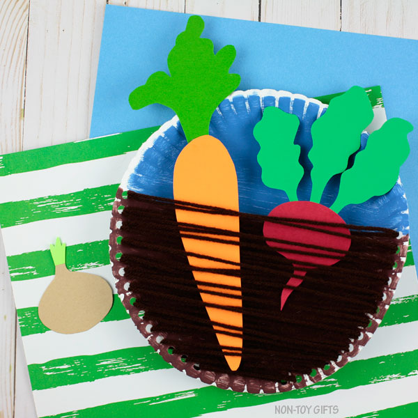 Vegetable craft for kids with paper plate and yarn