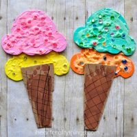 Puffy Paint and Footprint Ice Cream Cone Craft