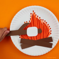 Paper plate campfire craft