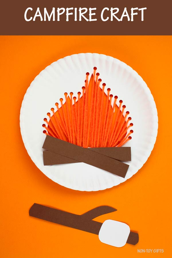 Paper plate campfire craft for kids to try this summer at camping
