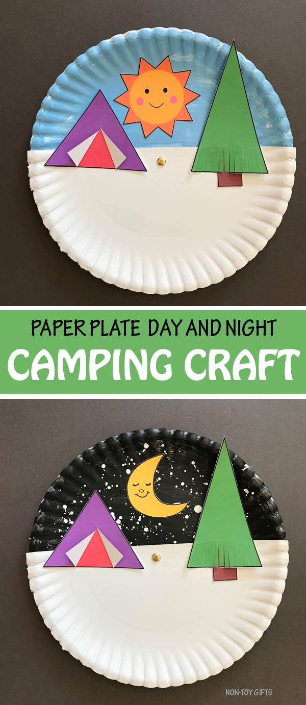 Paper plate day and night camping craft for kids to make this summer