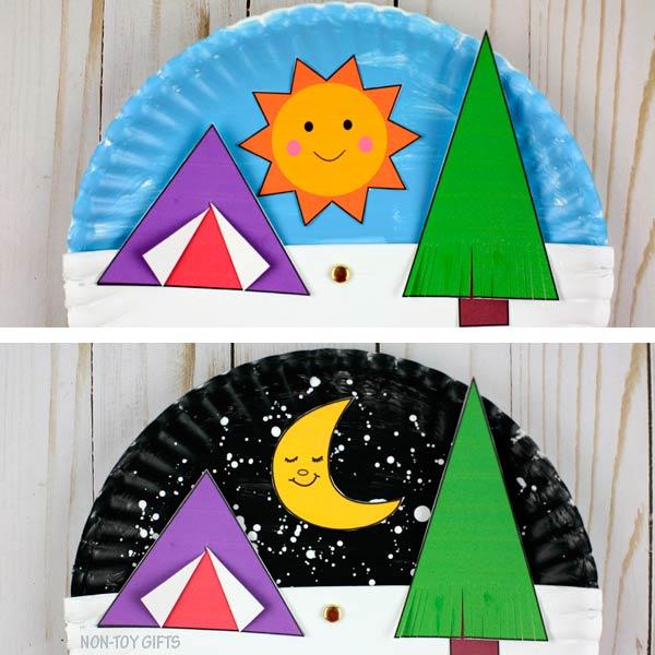 Paper plate camping craft kids