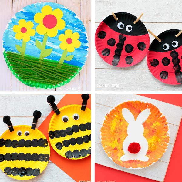 Paper plate crafts kids spring