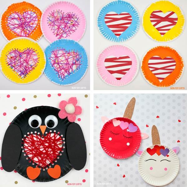 Paper plate crafts kids Valentine's Day