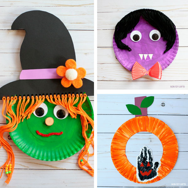 Paper plate crafts kids Halloween