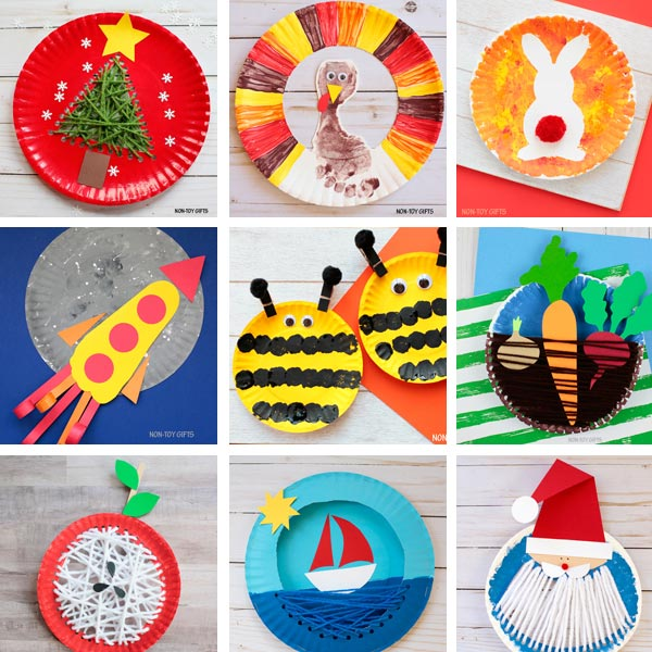Paper plate crafts kids collage