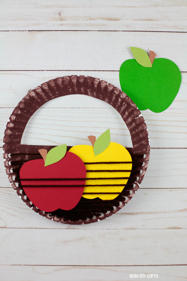 Paper plate apple basket craft