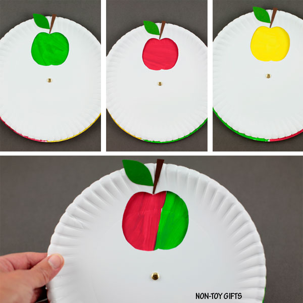 Color changing paper plate apple craft