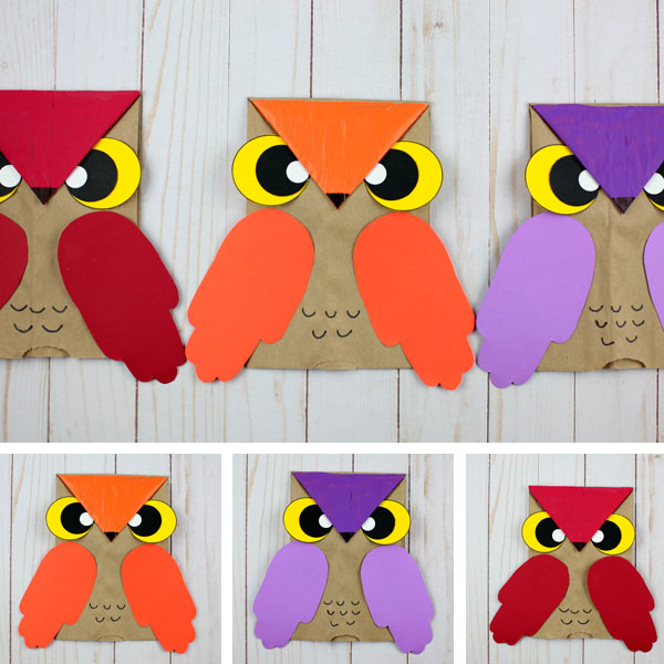 Paper bag owls for kids