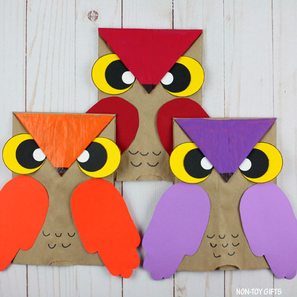 Handprint owl crafts