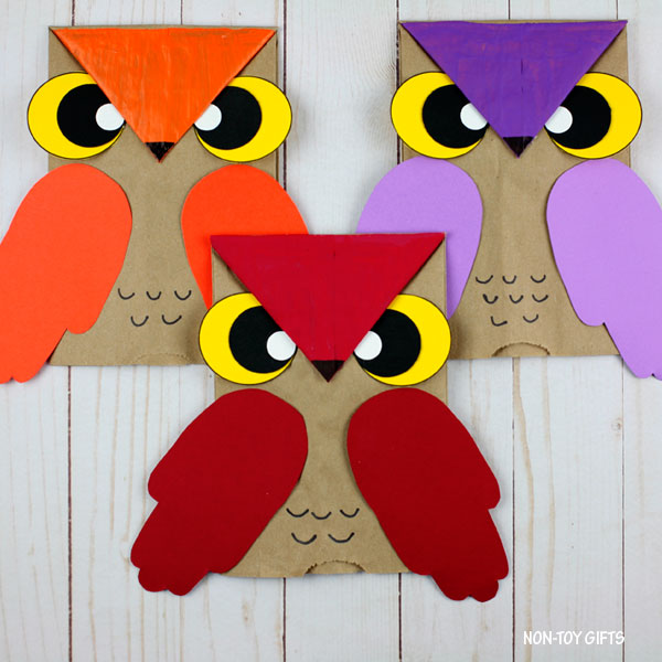 Paper bag owl puppets