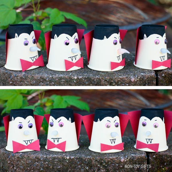 Paper cup vampire craft with glowing noses