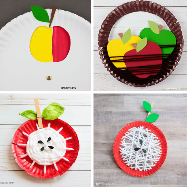 Paper plate apple crafts 1