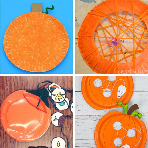 Paper plate pumpkin crafts