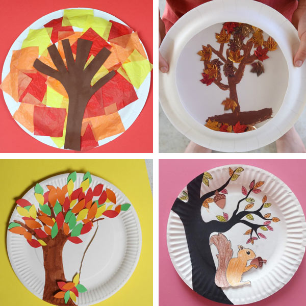 paper plate fall crafts - fall trees