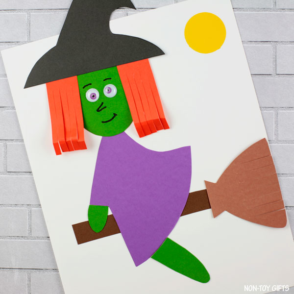 Flying witch craft for kids for Halloween