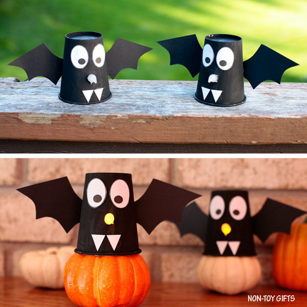 paper cup bats craft for kids