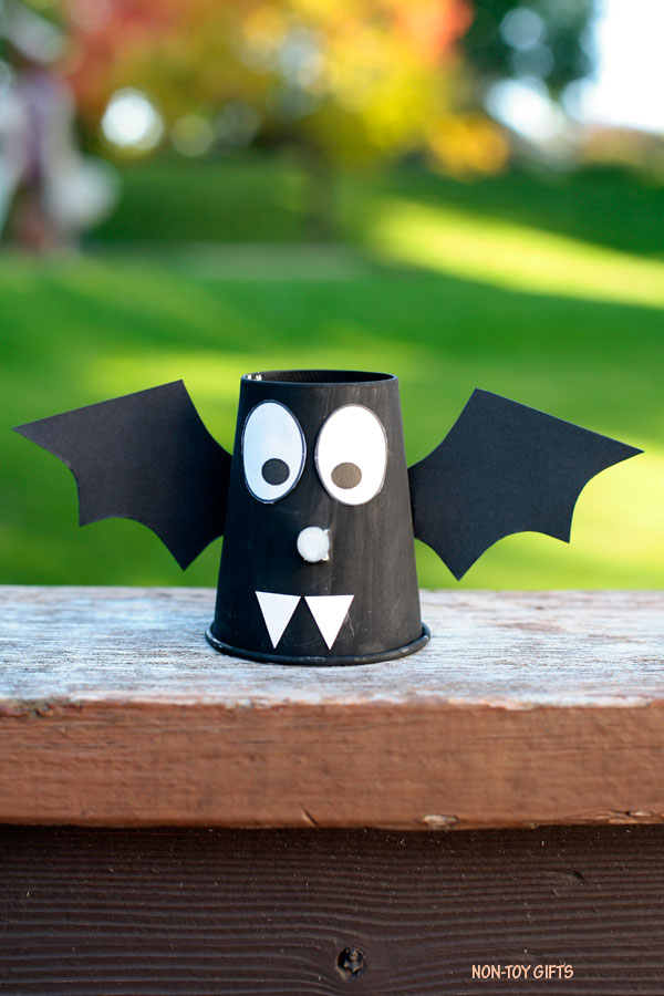 paper cup bat with tea light candle nose