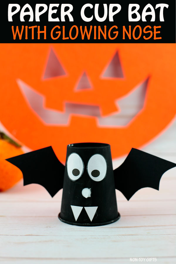 paper cup bats craft for kids for Halloween