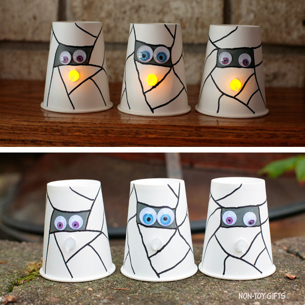 Paper cup mummy with glowing nose