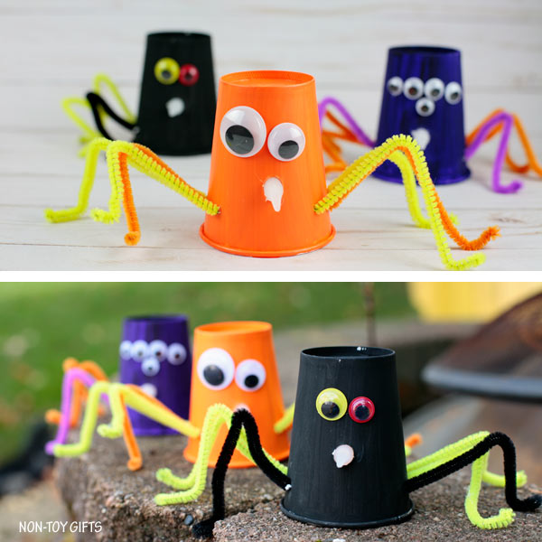 Simple paper cup spiders for Halloween decorations