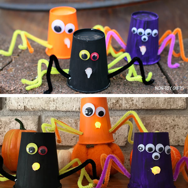 Paper cup spiders - Halloween craft for kids