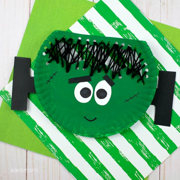 Paper plate Frankenstein craft for kids
