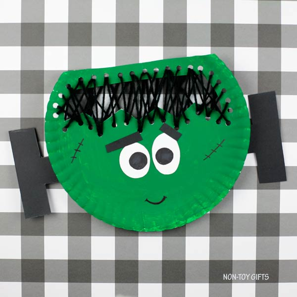 Yarn and paper plate Frankenstein