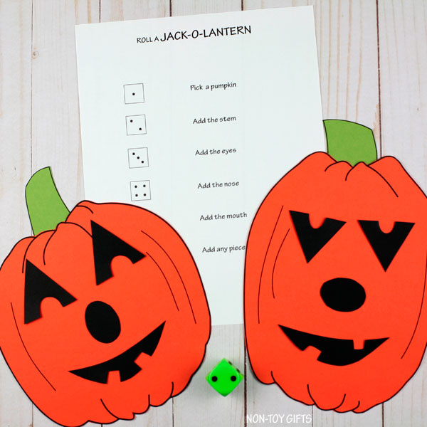 Roll a Jack-O-Lantern game for kids for Halloween