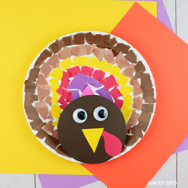 Torn paper turkey craft for Thanksgiving